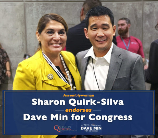 Release: Assemblywoman Sharon Quirk-Silva Announces Support for Dave Min for CA-45